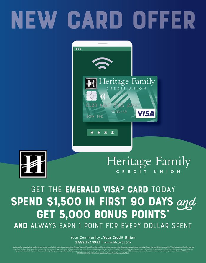 New Card Offer. Get the Emerald VISA Card today. Spend $1,500 in first 90 days and get 5,000 bonus points