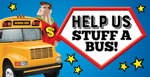 Help Us Stuff A Bus. Image of Captain Credit Union and a School Bus