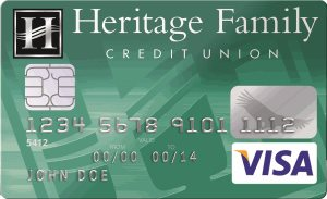 An Emerald VISA card from Heritage Family Credit Union.